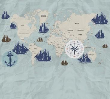 Fotomural Navigation World Map A08-M1027-3 Fotomural Navigation World Map A08-M1027-3