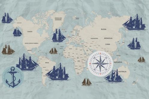 Fotomural Navigation World Map A08-M1027-4 Fotomural Navigation World Map A08-M1027-4