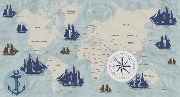 Fotomural Navigation World Map A08-M1027-5 Fotomural Navigation World Map A08-M1027-5