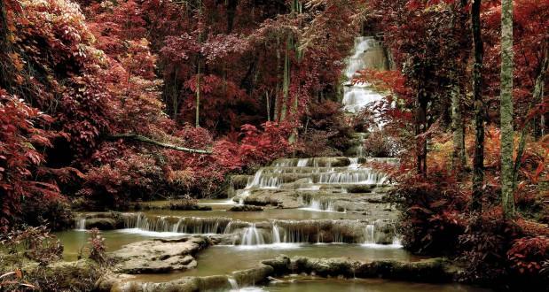 Fotomural Winter Waterfall