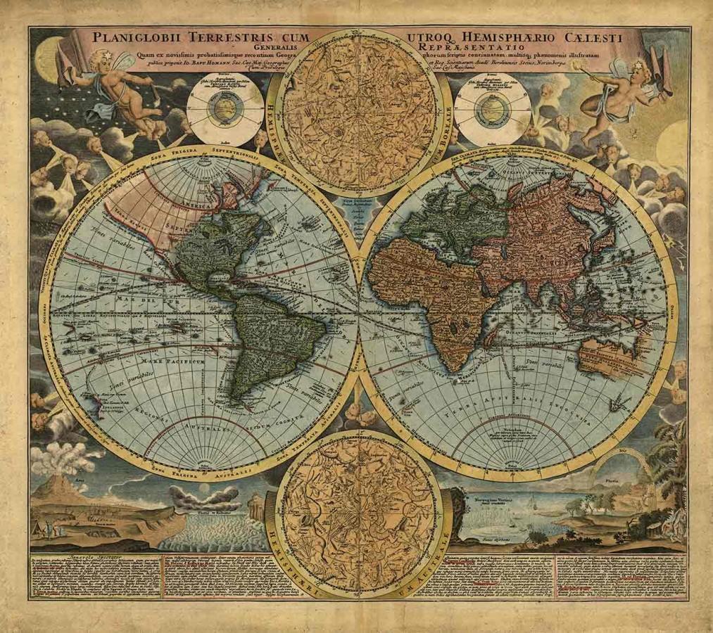 Fotomural Hemispheres World Map A08-M901 Fotomural Hemispheres World Map A08-M901