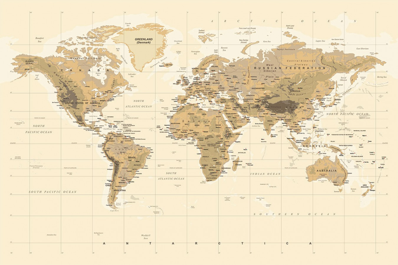 Fotomural Geographic World Map A08-M903 Fotomural Geographic World Map A08-M903