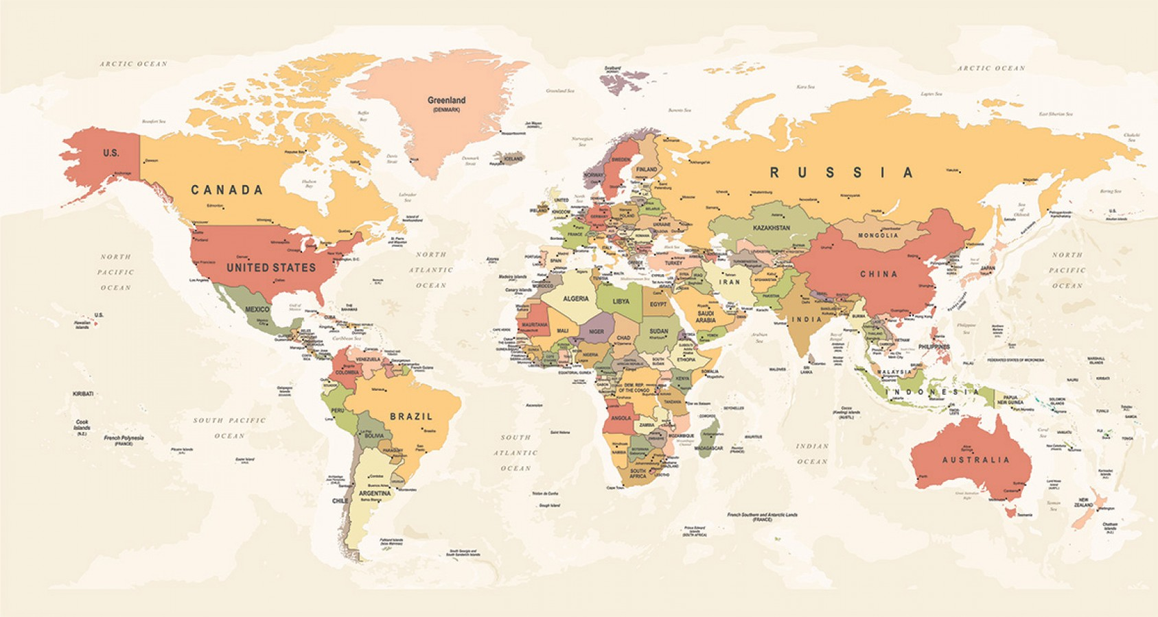 Fotomural Countries World Map 4 A08-M904 Fotomural Countries World Map 4 A08-M904