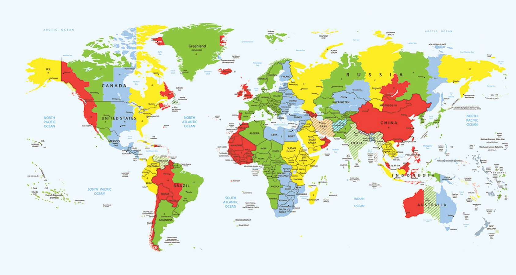 Fotomural Time Zone World Map A08-M907 Fotomural Time Zone World Map A08-M907
