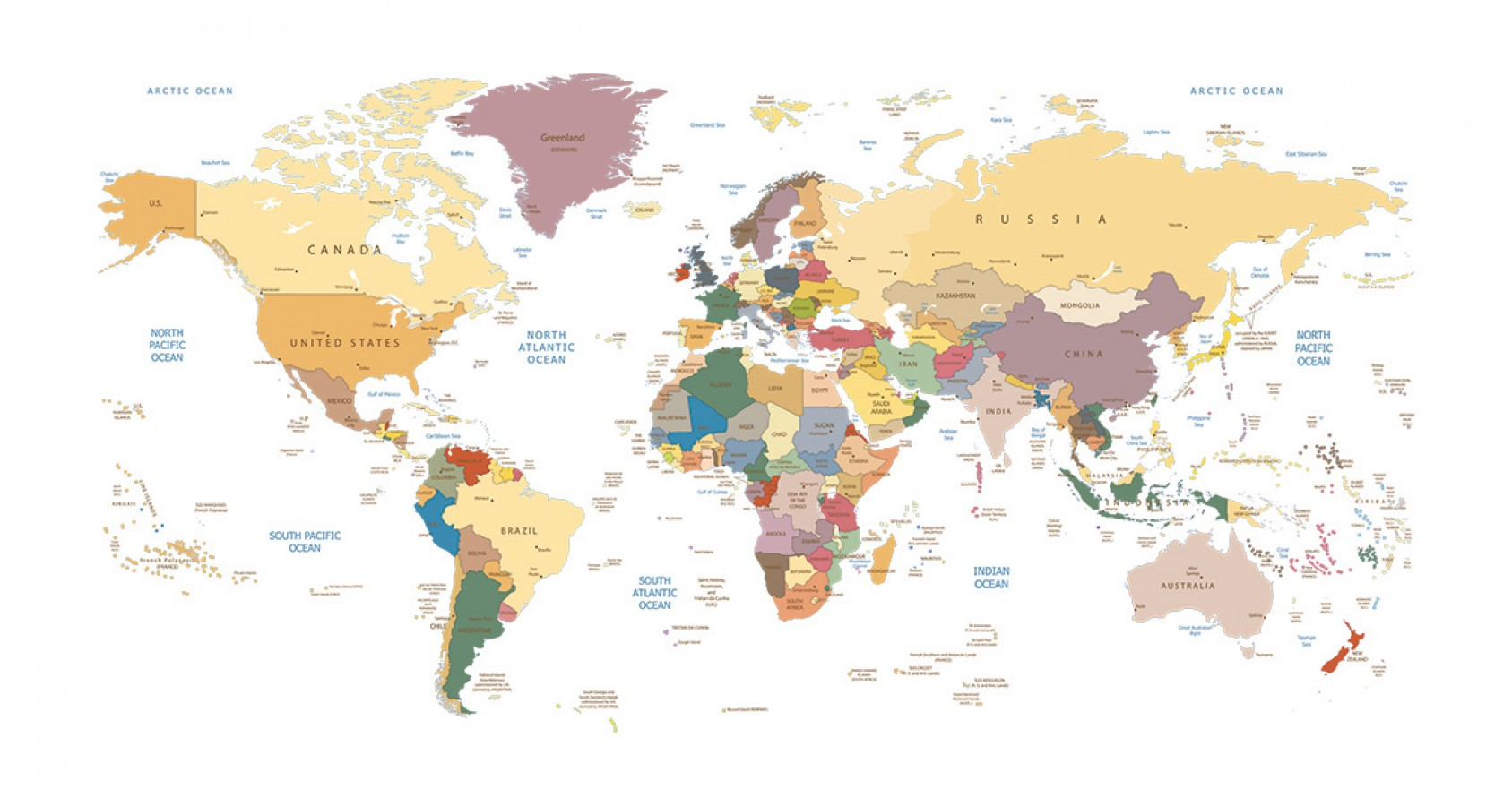 Fotomural Countries World Map 3 A08-M908 Fotomural Countries World Map 3 A08-M908