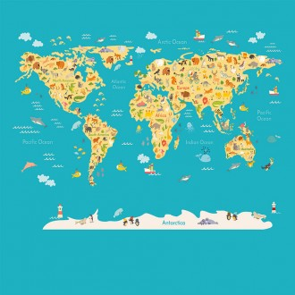 Fotomural Animals World Map A08-M938-3 Fotomural Animals World Map A08-M938-3