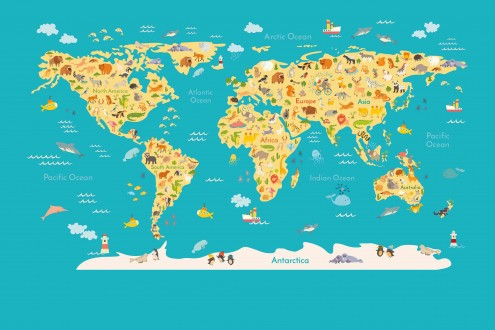 Fotomural Animals World Map A08-M938-4 Fotomural Animals World Map A08-M938-4