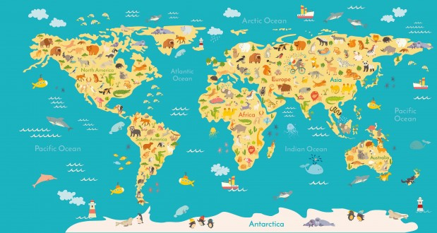 Fotomural Animals World Map A08-M938-5 Fotomural Animals World Map A08-M938-5
