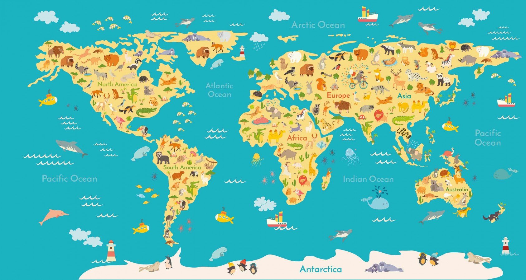 Fotomural Animals World Map A08-M938   A08-M938